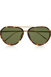 Aviator-style acetate and gold-plated sunglasses