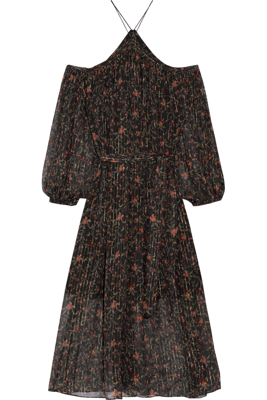 Zimmermann Havoc Off-the-Shoulder Printed Silk-Georgette Dress, Black, Women's - Printed, Size: 0