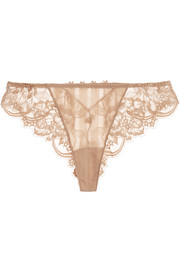 Amour stretch-satin and Leavers lace briefs