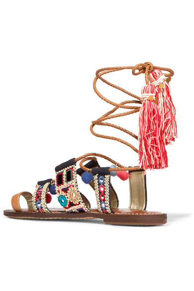 3f6084f078af Sam Edelman. Gretchen embroidered canvas and leather sandals. £60. Zoom In