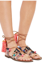 Gretchen embroidered canvas and leather sandals