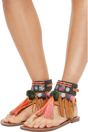 Gere embroidered canvas-trimmed nubuck sandals