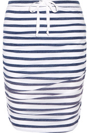 Striped stretch-jersey skirt