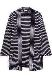 Striped stretch-knit cardigan