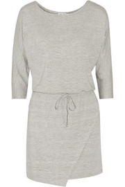 Wrap-effect stretch-modal jersey mini dress