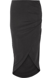Wrap-effect washed modal-blend jersey skirt