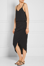 Splendid Wrap-effect washed modal-blend jersey skirt