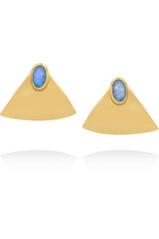 Gold-plated opal earrings