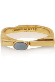 Gold-plated opal ring