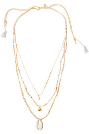 Chan Luu Gold-plated multi-strand shell necklace