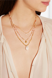 Gold-plated multi-strand shell necklace
