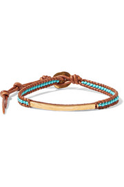 Gold-plated, turquoise and leather bracelet