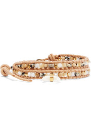 Gold-plated, mother-of-pearl and suede wrap bracelet