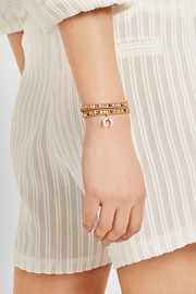 Chan Luu Gold-plated, mother-of-pearl and suede wrap bracelet