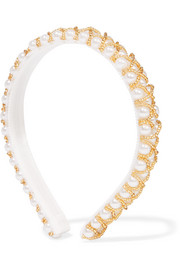 Lyra beaded faux pearl headband