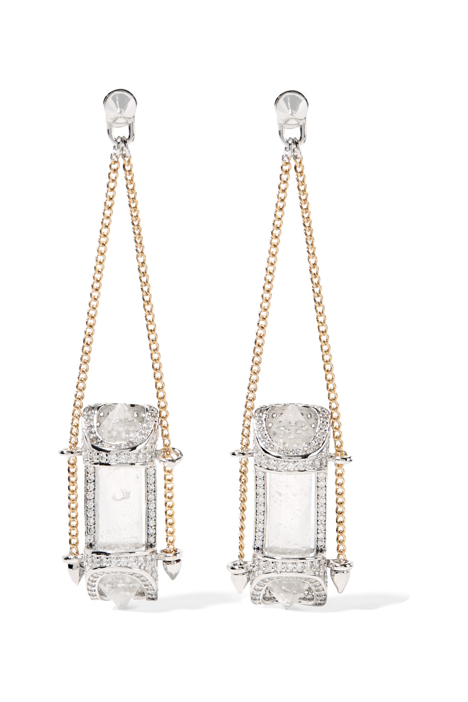 Eddie Borgo Sibyl Silver and Gold-Plated Crystal Earrings