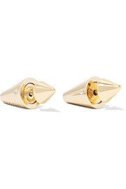 Mini gold-plated cubic zirconia cone earrings