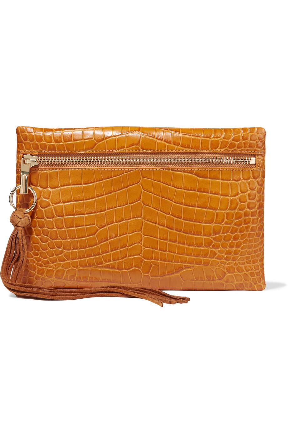 Elizabeth and James Scott Croc-Effect Leather Clutch, Tan, Women's