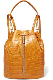 Cynnie Sling convertible croc-effect leather backpack