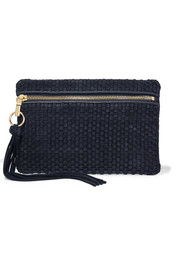 Scott woven suede and leather clutch
