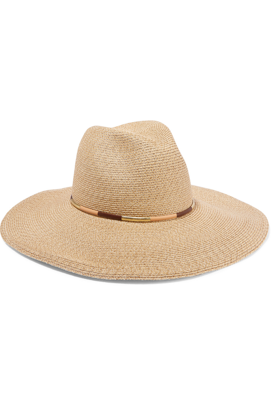 Eugenia Kim Cassidy Leather-Trimmed Toyo Sunhat, Sand, Women's