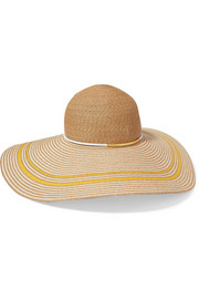 Bunny faux leather-trimmed toyo sunhat