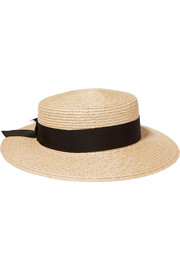 Brigitte grosgrain-trimmed woven hemp boater hat