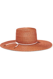 Amirah faux leather-trimmed straw sunhat