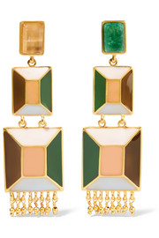 Hexagon gold-plated, enamel and emerald earrings