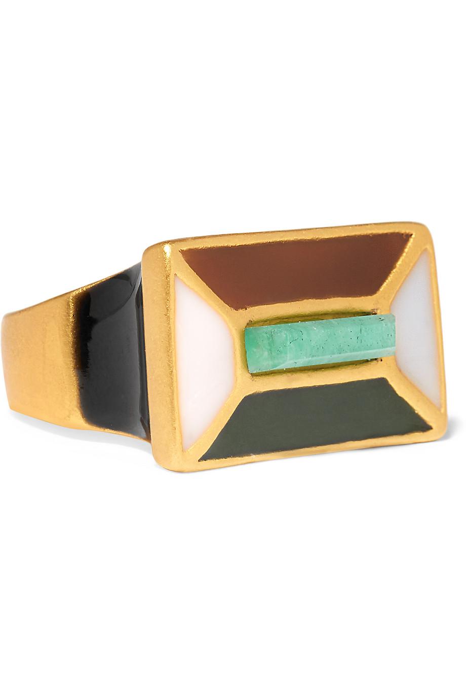 Paula Mendoza Hexagon Gold-Plated, Enamel and Emerald Ring, Gold/Emerald, Women's, Size: 6