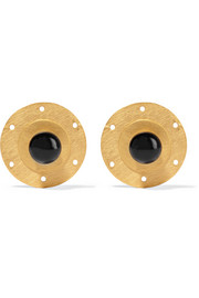Lovag convertible gold-plated onyx earrings