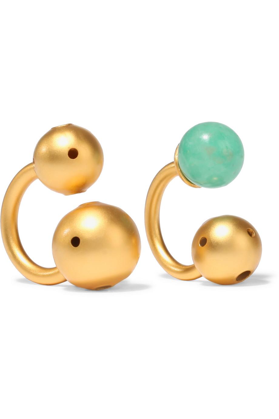 Paula Mendoza Pierce Set of Two Gold-Plated Cabochon Ear Cuffs, Gold/Turquoise, Women's