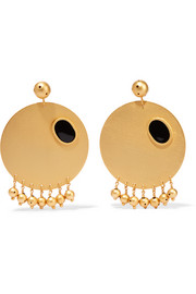 Sphere gold-plated enamel earrings