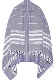 Fringed striped cotton scarf
