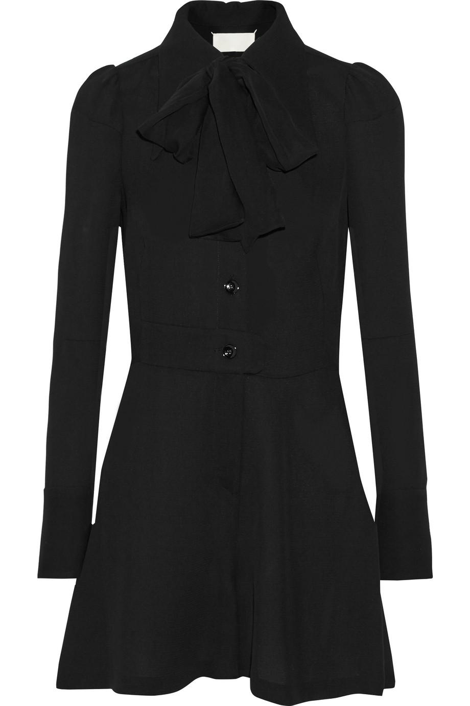 Maison Margiela Pussy-Bow Crepe Playsuit, Black, Women's, Size: 36