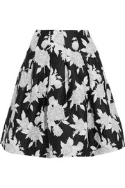 Pleated printed matelassé skirt