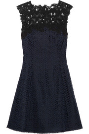 Cutout lace and organza mini dress