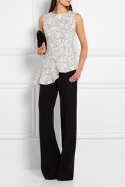 Asymmetric printed stretch-silk peplum top