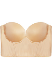 Matte-satin and stretch-mesh plunge bra