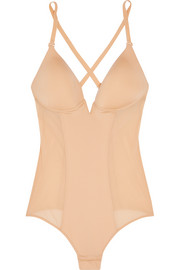 Underwired stretch-satin and mesh bodysuit