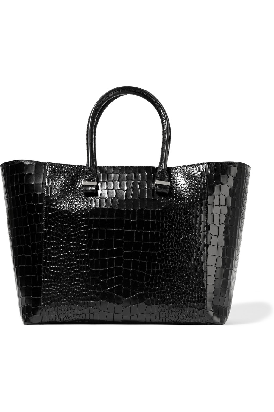 Victoria Beckham Liberty Croc-Effect Leather Tote, Black, Women's