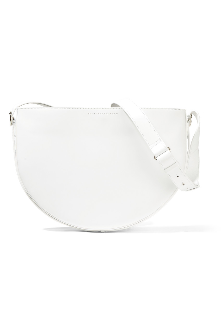 Victoria Beckham Half Moon Leather Shoulder Bag, White, Women's