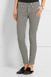 Rag & bone The Capri cropped striped mid-rise skinny jeans