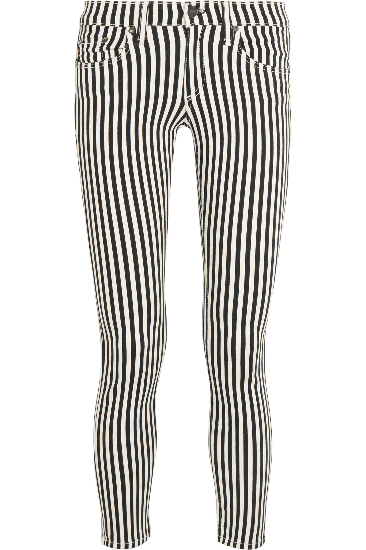 rag & bone The Capri cropped striped mid-rise skinny jeans