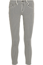 The Capri cropped striped mid-rise skinny jeans
