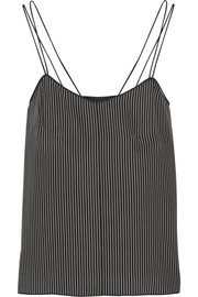Mesh-trimmed striped silk tank