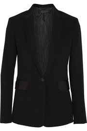 Windsor grosgrain-trimmed crepe blazer