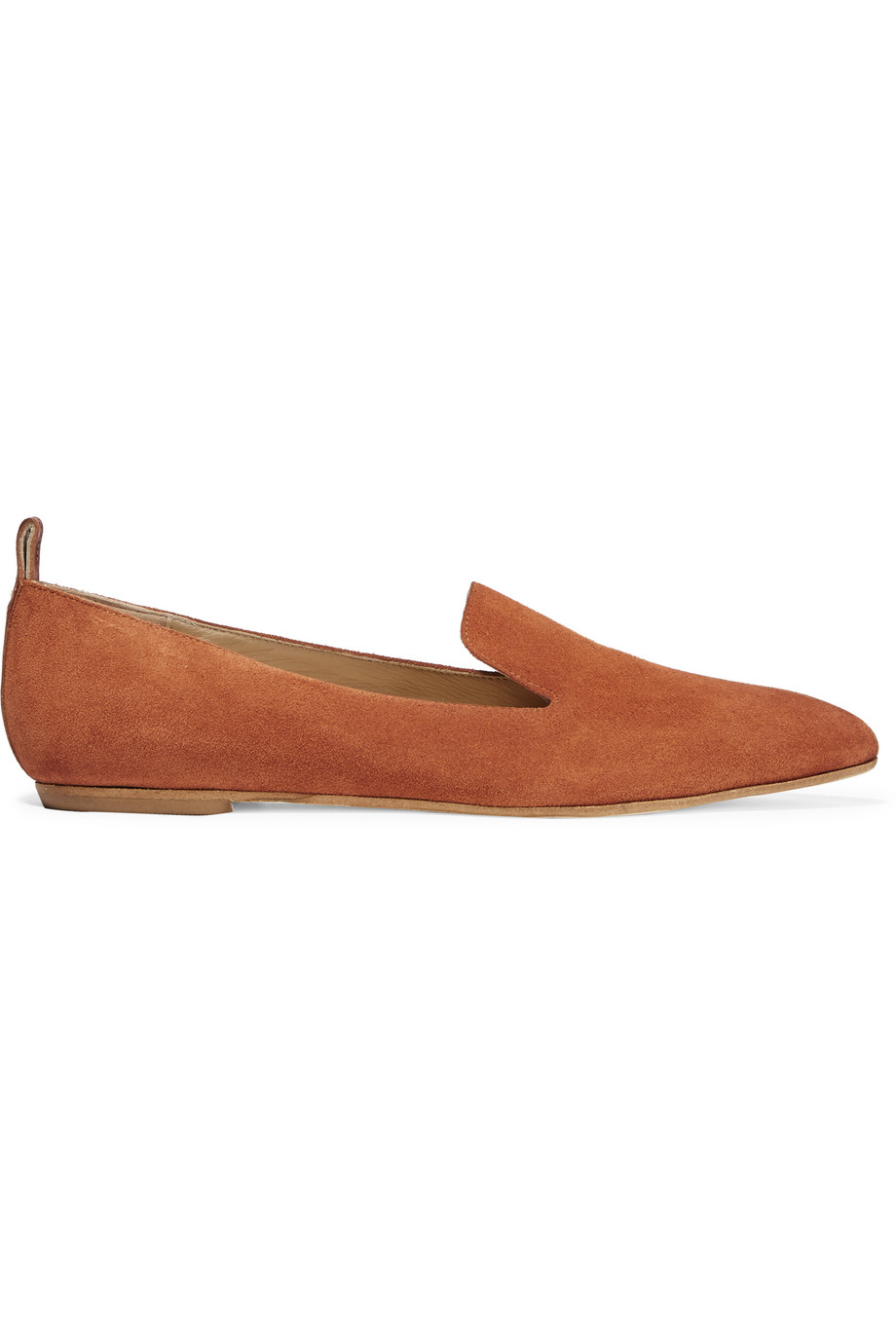 ATP Atelier Greta Leather-Trimmed Suede Point-Toe Flats, Brick, Women's US Size: 4.5, Size: 35