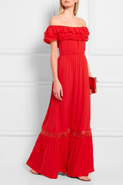Cheri off-the-shoulder crepe maxi dress