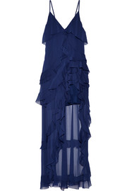 Laverne asymmetric ruffled crepon gown
